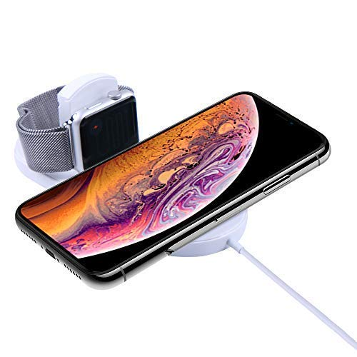 Ruishion Upgraded Fast Wireless Charger Pad Compatible with iWatch Series  3/2/1 iPhone Watch Wireless Charger Applicable to Phone XS XR Max/Galaxy