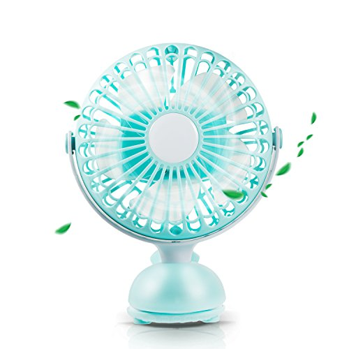 Battery Operated Clip Fan Stroller Fan for Baby Portable Silent USB Fan Mini Personal Desk Fan Cute Design Rechargeable Battery Fans Adjustable Tilt Quiet Operation for Treadmill Dorm Bed Tent Camp by Aikmi (Image #9)