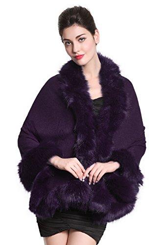 Faux Fur Shawl Wrap Stole Shrug Bridal Winter Wedding with Hook Purple