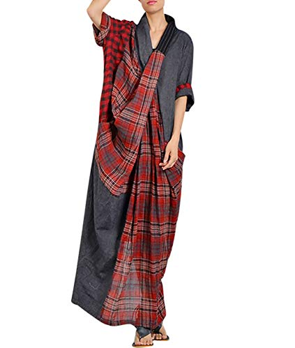 Stripe Kimono Dress - YESNO JCA Women Long Loose Maxi Dress 100% Linen Plaid Stripe Spliced Front Pleated Back Split Short Sleeve/Pockets