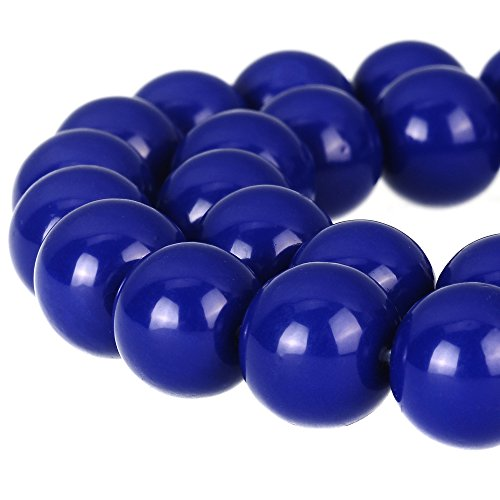 RUBYCA Round Opaque Painted Druk Czech Glass Beads Bulk Jewelry Making Supplies Strand (Blue, 10mm)