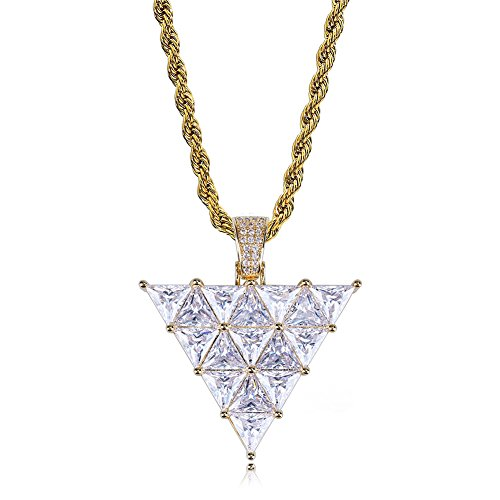 - SHINY.U 14K Gold and Silver Plated Big Simulated Diamond Zirconia Inverted Triangle Pendant Necklace for Men Women Fashion Jewelry Gifts (Gold Triangle)