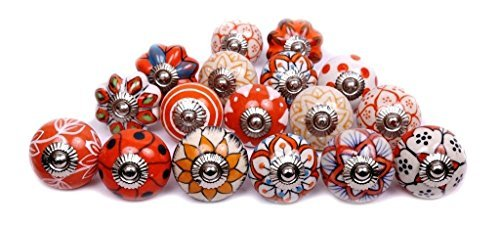 Glitknob 10 Knobs Orange & White Hand Painted Ceramic Knobs Cabinet Drawer Pull