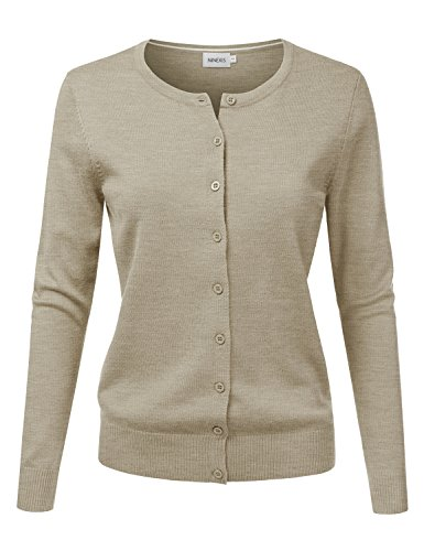 NINEXIS Women's Long Sleeve Button Down Soft Knit Cardigan Sweater Camel 3XL