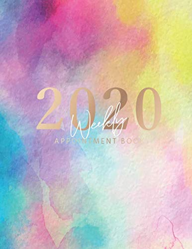 2020 Weekly Appointment Book: Colorful Watercolor Cover | Weekly & Monthly Appointment Planner | Organizer Dated Agenda Calendar Academic | … Hourly Organizer In 15 Minute Interval)