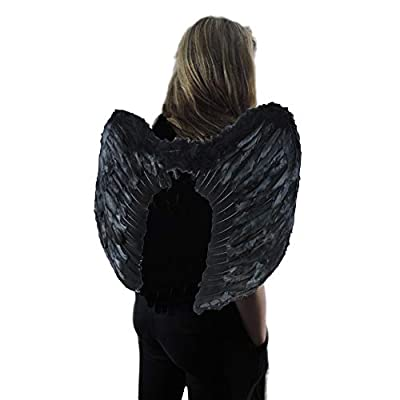 Black Fallen Angel Heaven Fairy Godmother Feather Wings: Toys & Games
