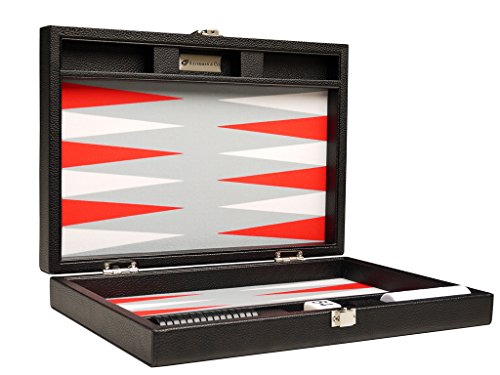 (Silverman & Co. 13-inch Premium Backgammon Set - Travel Size - Black Board, White and Scarlet Red Points)