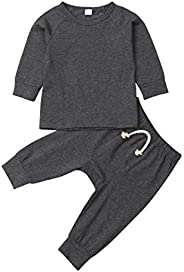 Luckinbaby Baby Unisex Pajamas, Top with Pants Set 2 Piece Outfit, Organic Cotton Clothing Set for Infant Baby
