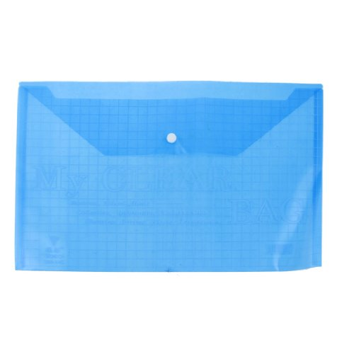 uxcell School Office Checkered Blue Clear A4 Paper File Storage Case Bag Holder ()