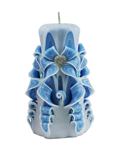 Blue pillar candles Home decor - Custom order available with any scent color shape - Handmade in the ()