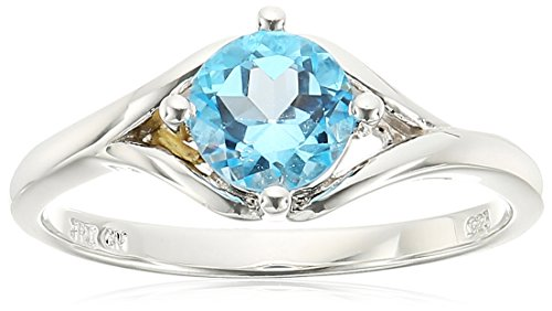Sterling Silver Split Shank Swiss-Blue-Topaz Ring, Size - Shank Split Topaz