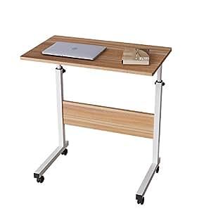 Dlandhome 60 40 cm ajustable mesa de ordenador portatil for Mesa de ordenador con ruedas
