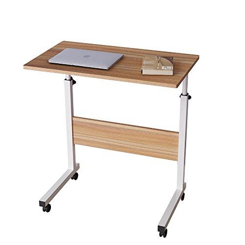 sogesfurniture Mesa Portatil Ordenador Ajustable con Ruedas, 60 * 40cm Mesa sofa Mesa de Escritorio para Cama o Sofa, Roble 05#1-60OK-BH