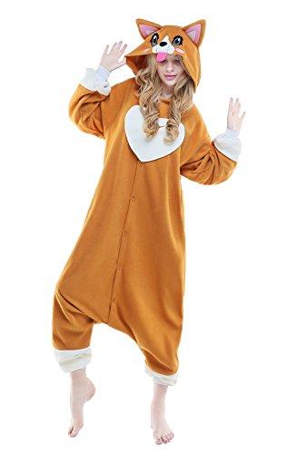CANASOUR Christmas Anime Cosplay Costumes Unisex Adult One Piece Pajamas (L, Corgi)]()