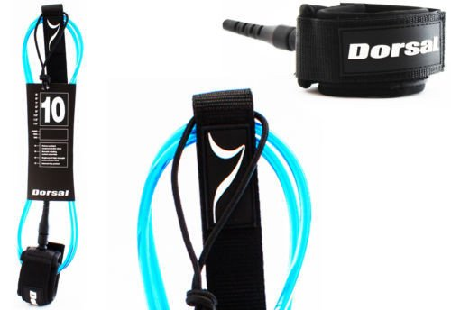 Dorsal Premium ProComp Surfboard Lightweight, Kink-free, Surf Leash - Blue 10 FT Longboard / Blue