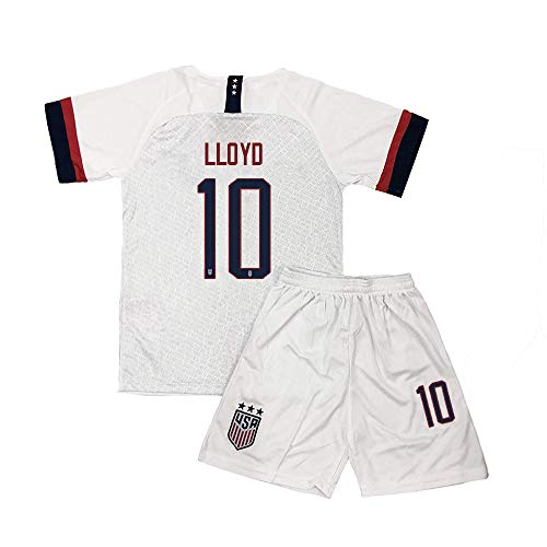 Kllnie Youth Lloyd Jersey USA 10 Girls Home Soccer Kids Shorts Carli Sizes White (S=22(4-6Years Old)) (Childrens Usa Soccer Jersey)