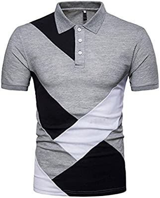 81900677 Blouse For 1PC Fashion Personality Men's Casual Slim Patchwork Short Sleeve  T Shirt Top Blouse (XL:Bust:114cm/44.9