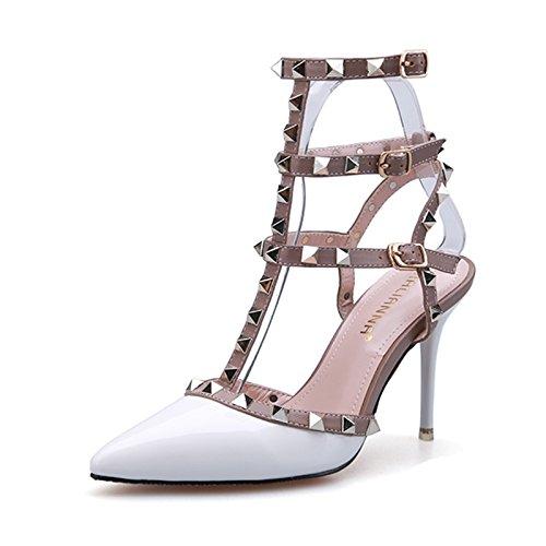Las mujeres boca de pescado zapatos Sandalia Verano niñas ,38 rojo White