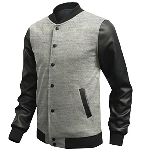 Casual Tootlessly Patched Outerwear Light Mens Jackets Leather Grey Baseball Thin aw46Cwxq