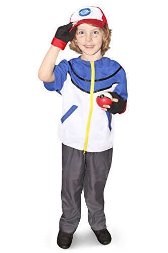 DAZCOS Kids Size Ash Ketchum Cosplay Costume with Cap and Golves (Child Large) Blue ()