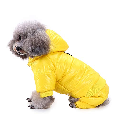 Suede Coat Faux Dog (HUG(TM) British Style Cozy Dog Winter Coat Pet Hooded Clothes Snowsuit Apparel Cold Weather Warm Faux Suede Shearling Fabric Dog Jacket for Small Medium Dogs (M, Yellow))