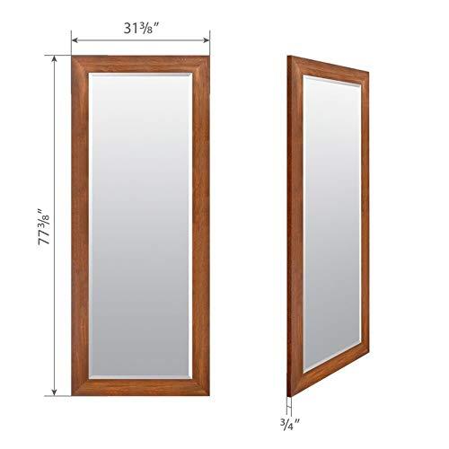 (Gracie Oaks Woodgrain Solid Walnut Framed Full Length Beveled Mirror )