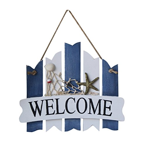 (WINOMO WELCOME Sign Plaque Wooden Hanging Nautical Wall Decor Beach Theme Cafe Store Door)