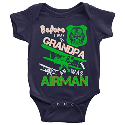 I Was An Airman Baby Bodysuit, Coolest Airman Grandpa Baby Bodysuit (12M, Baby Bodysuit - Navy)