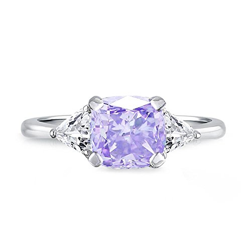 Samie Collection Rhodium Plated 1.74ctw Cushion CZ 3-Stone Wedding Engagement Rings in Birthstones ()
