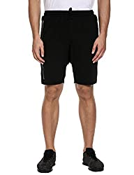 Coofandy Men's Summer Casual Classic Fit Shorts Breathable Gym Shorts with Side Zip , Black, Small