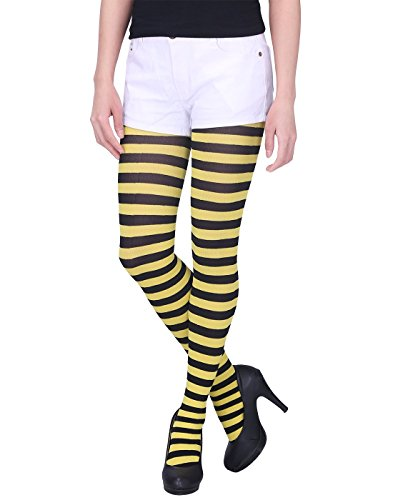 HDE Women's Striped Tights Full Length Sheer Microfiber Nylon Footed Stockings (Black and Yellow) ()