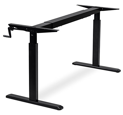 Mount-It Stand Up Desk with Manual Crank, Frame Only, Height Adjustable Sit-Stand Base, Standing Ergonomic Workstation, Black
