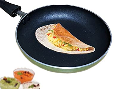Non-Stick Fry Pan, Dosa Tava ( Induction and Gas Compatible ), Black and Green Color Size 7 X 12.5 Inch