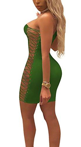 Vestito Neck Mini Clubwear Elegante Con Smanicato Partito Moda Corti Abito Tubino Estivi Lacci Abbigliamento Giovane Slinky Cocktail Donna Bodycon Hanging Vestiti Verde Ragazza YHvqCgwY