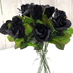 Black Beauty Rose Stems One Dozen Fake Flowers for Romance Party Wedding Bouquet Home Decor I Love You Silk Artificial Flowers (Black) 62