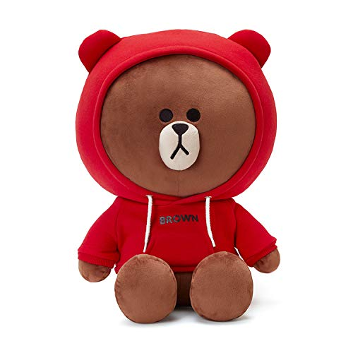 LINE FRIENDS Plush Standing Doll - Red Hood Jumbo Brown Character Cute Soft Toy Figure 16 Inches, ()