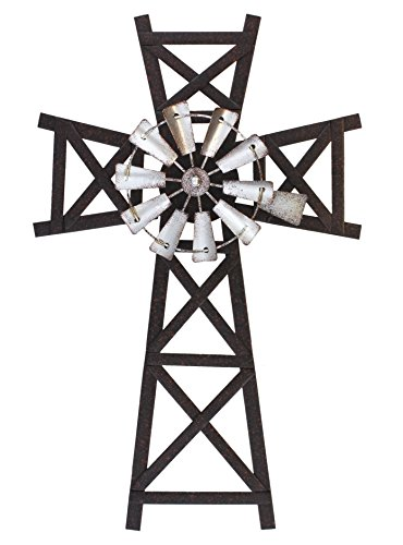 Cheap Old River Outdoors 16″ Farmhouse Windmill Wall Cross – Metal Farm Decor