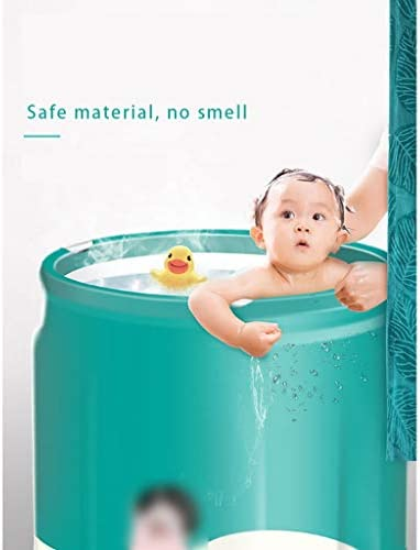 家庭用大人用折りたたみ式バスタブ持ち運びと収納が簡単な厚くて断熱性の高いバスタブ男性と女性の入浴と蒸しの折りたたみ式バスタブ 浴室用設備 (Color : Green, Size : 65*70cm)