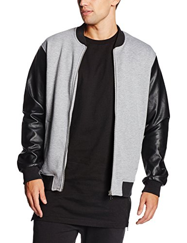 Urban Classics Zipped Leather Imitation Sleeve Jacket, Chaqueta para Hombre Mehrfarbig (Gry/Blk 119)