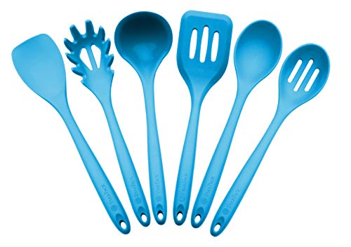 StarPack Basics Range XL Silicone Kitchen Utensil Set (6 Piece) in FDA Grade with Hygienic Solid Coating + Bonus 101 Cooking Tips - Teal Blue