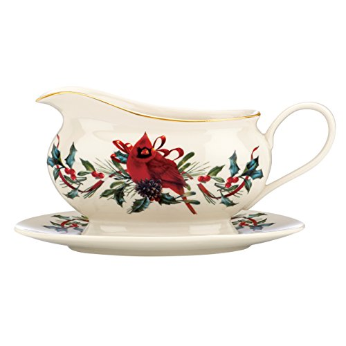Winter Greetings Entertaining Gravy Boat & Stand - Ivory Gravy Boat