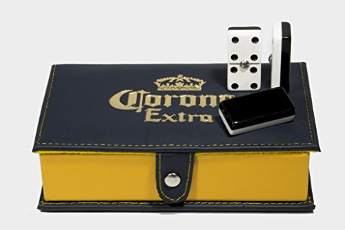 Corona Beer Domino Double Six, 2 Coats: Black - White 100% Acrylic. Faux Leather Case by ARSEL
