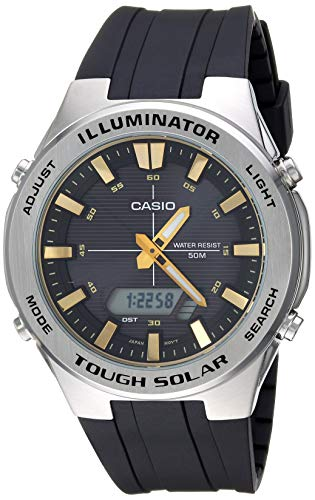 Casio Men's Tough Solar Stainless Steel Quartz Watch with Polyurethane Strap, Black, 24.5 (Model: AMW-S850-1AVCF)