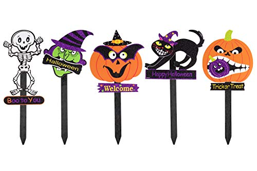 Juvale Halloween Yard Sign Stakes - 5-Pack Happy Halloween Outdoor Lawn Decoration, Pumpkin, Skeleton, Cat Witch Design, Halloween Party Favors -