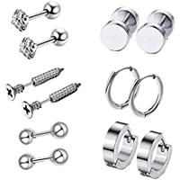 F Fityle 6 pares de brincos de aço inoxidável, joias femininas, masculinas