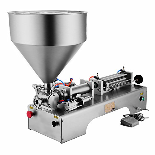 Happybuy 50-500ML Pneumatic Liquid Filling Machine 5-25 bottles /min Horizontal Semi-auto Liquid Paste Filling Machine with 30L Funnel for Liquid Paste Oil Cream Shampoo (50-500ML with Funnel) by Happybuy