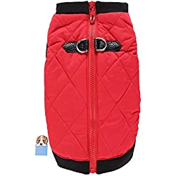 TAONMEISU Winter Dog Jacket Fashion Comfortable Leather Buckle Casual Pet Jacket Vest Cold Weather Coats for Dogs Red S