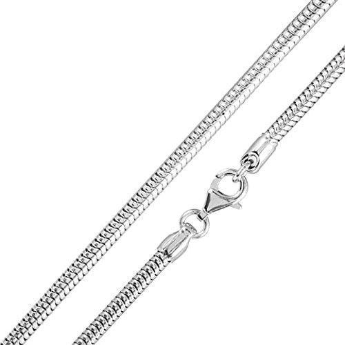 MATERIA Schlangenkette silber 925 - Halskette Damen 1,0mm Silber Kette in 11 Längen 40 - 120 cm verfügbar #K33, Länge Halskette:45 cm