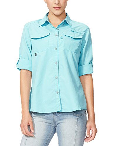 Baleaf Women's Outdoor UPF 50+ Sun Protection Long-Sleeve Shirt Blue Size (Long Sleeve Sun Protection)