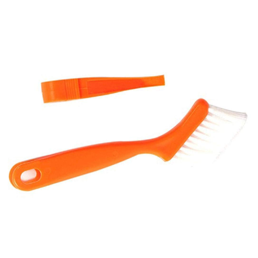 Liping 2 in 1 Multipurpose Window Groove Gap Track Cleaning Portable Handle Nylon Anti Static Brushes Cleaning Keyboard Brush Home Dusting Brush (Orange)